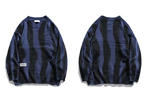 Men Hip Hop Knitted Jumper Sweaters Hole Striped Tie Dye Streetwear Casual Knitwear Pullovers Tops