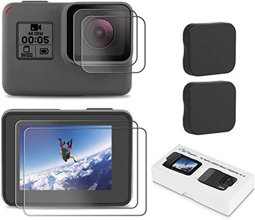 Kupton Screen Protector for GoPro Hero 7 (Black Only) / 6/ 5/ 2018, Upgraded Tempered Glass Screen Protector Film+Tempered Glass Lens Film+Lens Cover Accessories for Go Pro Hero7 Hero6 Hero5-2 Packs