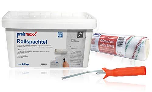 preismaxx Rollspachtel Set - 20 kg mineralischer Spachtel weiß + Rollspachtel Walze zum effektiven Auftrag