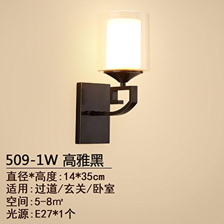 StiefelU LED Wandleuchte nach oben und unten Wandleuchtenvoll Kupfer Korridor durch die Strae Licht LED Wandleuchte Schlafzimmer Nachttischlampe Wohnzimmer Wandleuchten Q, einzelne schwarze