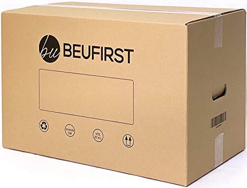 BEUFIRST Pack de 10 cajas de cartón con asas (Tallas M y XL). Cajas para mudanzas, almacenaje y transporte ultraresistentes. Canal doble 5 capas reforzado y cartón ecológico (550x350x350 mm)