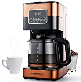 Gastrorag 10-Cup Drip Coffee Maker - Programmable Coffee Machine with Glass Carafe, Keep Warm, Permanent Filter, CM-1290C (Copper)