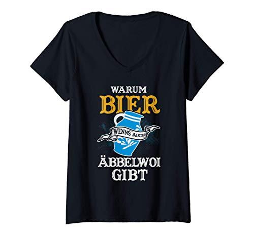 Damen Warum Bier wenns auch Äbbelwoi gibt Apfelwein Hessen Bembel T-Shirt mit V-Ausschnitt
