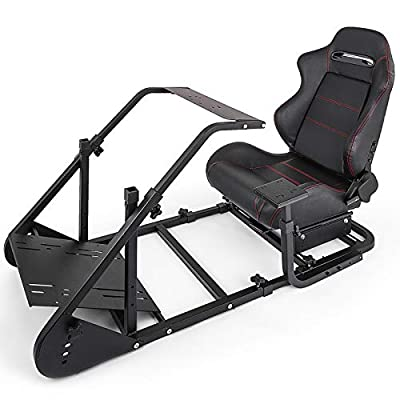 VEVOR Simulator Cockpit with Real Racing Seat Simulator Height Adjustable Racing Wheel Stand fit for Logitech G25G27G29G920,Monitor Stand and Racing Wheel and Pedals Not Included