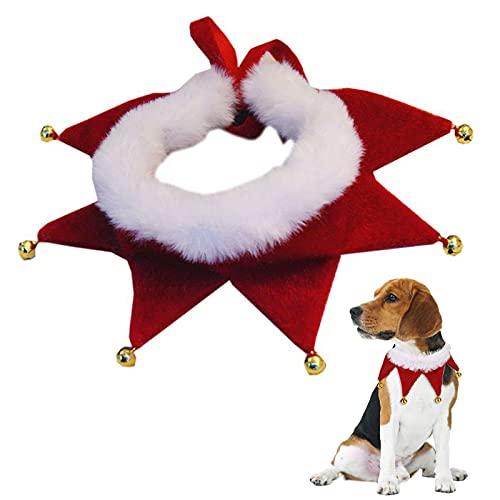 Cdemiy Collare Natalizio per Animali Domestici, Collare per Cani e Gatti con Campanelle, Simpatica Decorazione per Costume di Natale, Regalo per Costume di Natale per Cuccioli di Gatto (L)