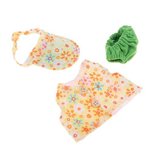 non-brand Pantalones Bebé Chaleco con Estampado de Flores para 10 Inch -11 Inch Reborn Boy Doll