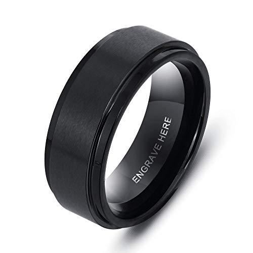Grand Made 8 mm tungsteno Acciaio Personalizzati Anelli Uomoo Dnna per Anello da Donna per Uomo Anello da Sposa per Matrimonio Anello Nuziale per Matrimonio