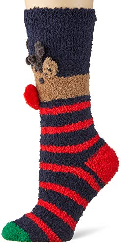 Joules Women's Christmas Fluffy Socks, 100 DEN, Blue...