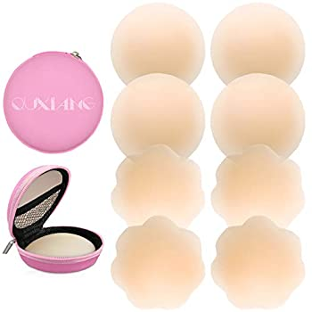 QUXIANG 4 Pairs Pasties Women Nipple Covers Reusable Adhesive Silicone Nippleless Covers  2 Round+2 Flower