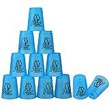DEWEL 12 Vasos de Plástico para Practicar Stacking con 1 Bolsa y 1 Polo Portátil para Guardar...