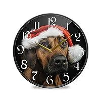 12インチ丸壁時計非カチカチ音を立てないサイレントバッテリー式オフィスキッチンベッドルーム家の装飾-新年のローデシアンリッジバック