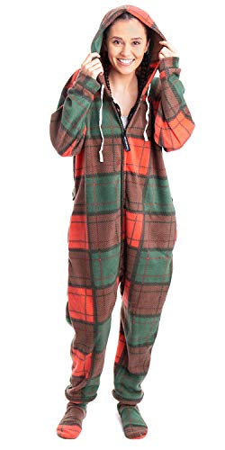 Forever Lazy Footed Adult Onesie - Holiday Plaid - XXL