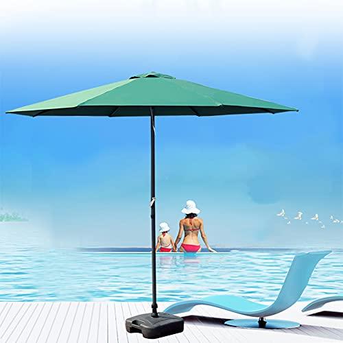ACXZ Sombrilla de Hierro de 270 cm para el Mercado Sombrilla de jardín Redonda Impermeable con manivela, Parasol de Playa al Aire Libre para césped/Piscina/balcón, sin Base, Verde Oscuro