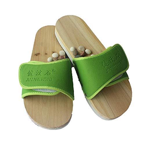 MU Tragbare hochwertige Kiesel-Massage-Hefterzufuhren Fuß-Akupunkturpunkte-Gesundheits-Schuhe Paar-Fuß-Massage-Magnetfeldtherapie-Massage-Ausgangsschuhe,Grün,36