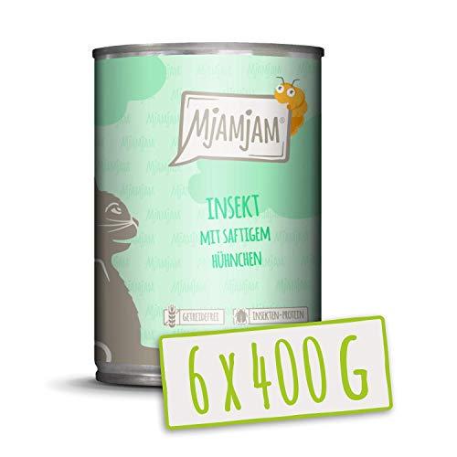 MjAMjAM - Pienso acuoso para Gatos - Insectos con Pollo jugoso - Sin Cereales - 6 x 400 g