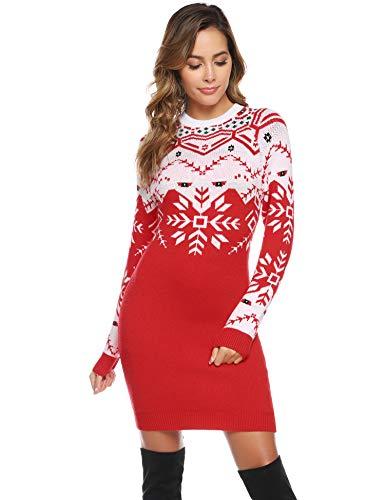 Abollria Womens lange mouwen ronde hals Chunky Gebreide kerst Jumper breigoed trui jurk