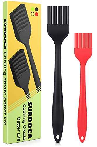 SURDOCA Silicone Pastry Basting Brush - 2Pcs 10 + 8 in Heat Resistant Brush for Cooking Baking Food, BPA Free Kitchen Brush for Sauce Butter Oil, Stainless Steel Core Design for Barbecue BBQ Grilling