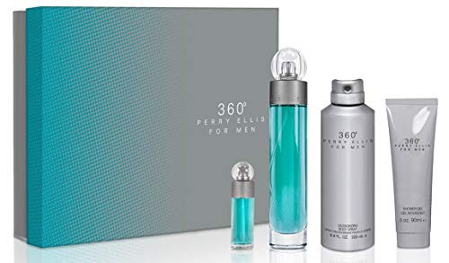 Perry Ellis 360 Pack con Spray, Deodorizing Body Spray y Shower Gel, Azul/Gris, Paquete de 4