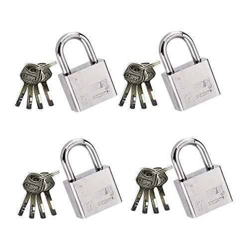 Candado de Seguridad de llave Set de 4 Piezas con 16 llaves,Resistente a Cortes para Puerta de Garaje,Contenedores,Cobertizo,Almacén,Interiores y Exteriores,Gimnasio,Portón,Cerca,Bicicleta