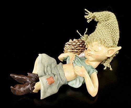 Pixie Kobold Figur kuschelt mit Igel | Gnom Zwerg Deko