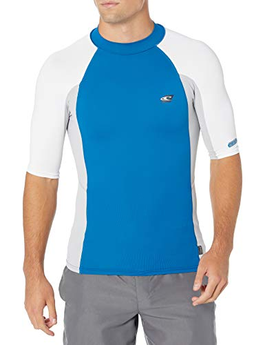 O'Neill Wetsuits Men's Premium Skins UPF 50+ Short Sleeve Rash Guard, Ultra Blue/Cool Grey/White, S