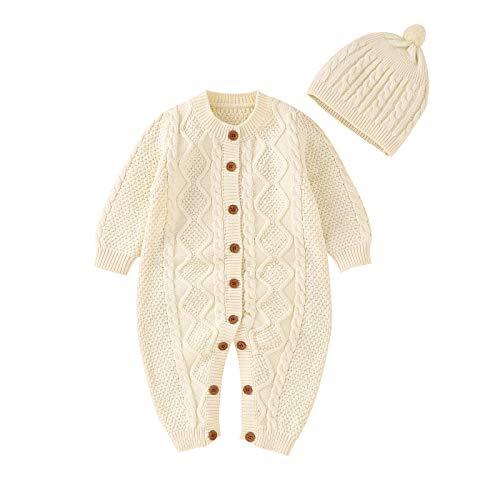 mimixiong Baby Neugeborenes Baumwolle gestrickt Pullover Strampler Langarm Outfit mit warmen Hut Set (6-12 Monate/80, Weiß)