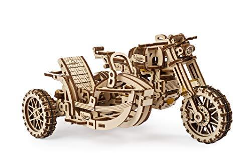 UGEARS 3D Puzzle Erwachsene Holz - Scrambler UGR-10 - 3D Holzbausatz Motorrad Modell mit Gummibandmotor - Mechanischer Modellbausatz Motorrad Bausatz - 3D Holzpuzzle für Erwachsene und Jugendliche