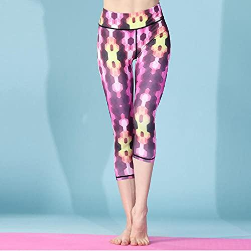 ArcherWlh Pantalones De Yoga,Europa y los Estados Unidos Modelos de explosión 3D Impresión Digital de Siete Puntos Pantalones de Yoga de Verano Nuevo Gimnasio de suéteres-Red_L