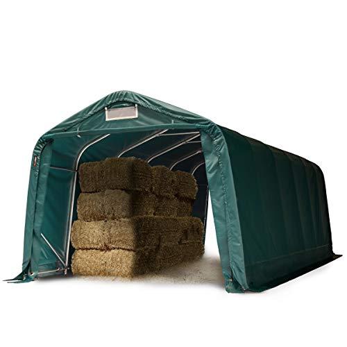 TOOLPORT Tente de pâturage Robuste 3,3x7,2 m étanche bâche PVC env. 550g/m² abri pour Chevaux écurie Ouverte, Vert