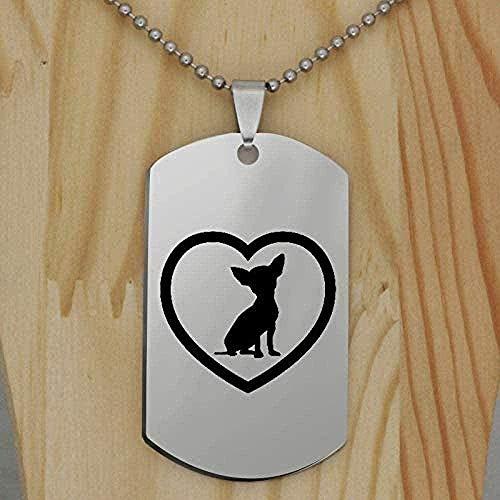 Yiffshunl Collar Collar de Acero Inoxidable Lindo Chihuahua Corazón Collar con Colgante de Perro Collar de Animales Joyería para Mascotas para Mujeres