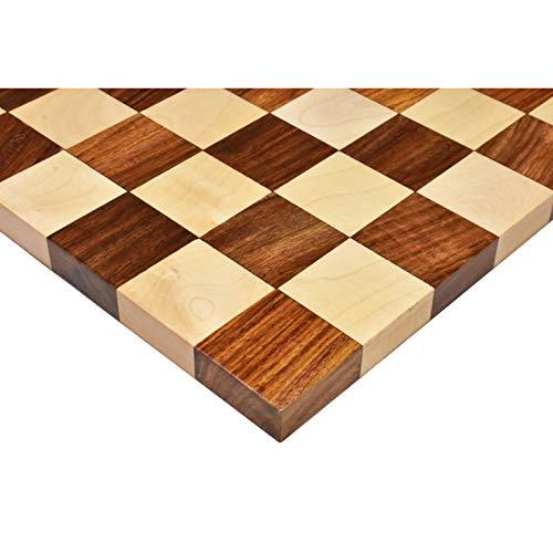 RoyalChessMall Tablero de ajedrez con Borde de Madera Dura sin Bordes - Palisandro Dorado y Arce-Cuadrado de 50 mm