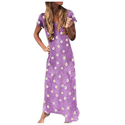 Dasongff dames vrijetijdsjurk strandjurk bohemian lange jurk zomerjurk korte mouwen boho jurken maxikjurk chrysantheme-print linnen jurk tuniek kaftan T-shirt