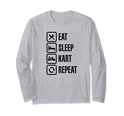 Funny Eat Sleep Kart Repeat Karting Gokart Rennen Fahrer Langarmshirt