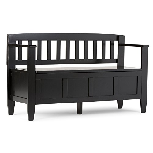 SIMPLIHOME Brooklyn SOLID WOOD 48 inch Wide Entryway Storage Bench with Safety Hinge, Multifunctional, Contemporary, in Black