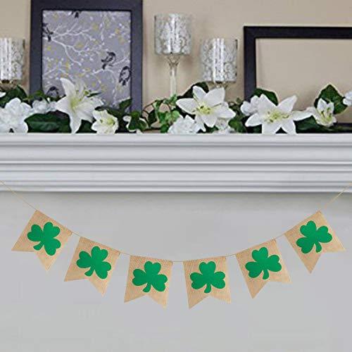 Rustic Shamrock Garland | Burlap Shamrock Garland Banner | St. Patricks Day Decorations | Burlap Clover Garland Banner | Irish Day Celebration Decor