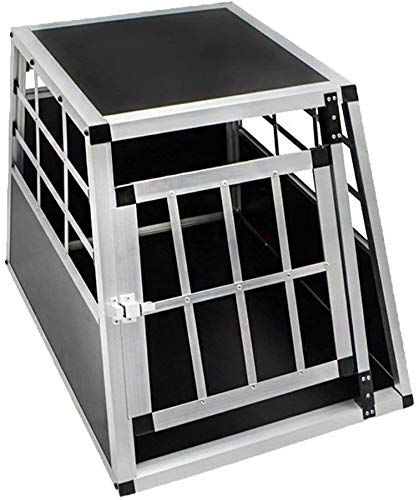 UISEBRT Hundetransportbox Alu Auto Hundebox Transportbox Reisebox Gitterbox (S, 1 türig