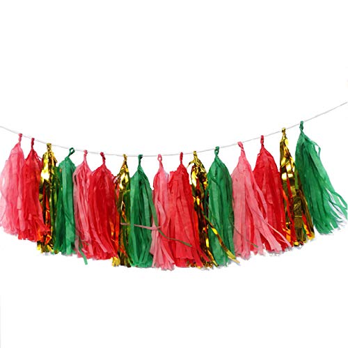 Qyeaber 20 pcs DIY Paper Tassel Tinsel Foil Tassel Party Garland, 4 Colors Christmas Style Fringe Garland Banner for Wedding, Baby Shower, First Birthday, Graduation, Event & Party Decorations