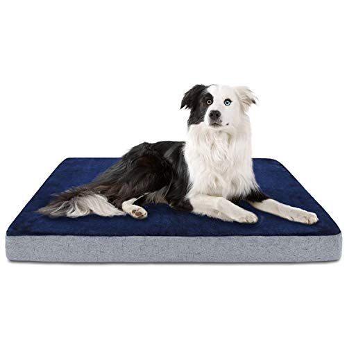 INVENHO Memory Foam Dog Bed Orthopedic Joint-Relief Double Elasticity Removable Cover Washable Comfortable Soft for Large Medium Dogs Blue 35''x22'' Beds