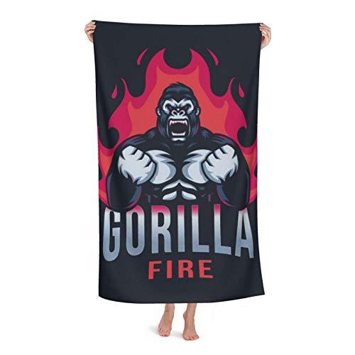 Toallas de playa extra grandes de microfibra para hombres y mujeres, logotipo Gorilla Fire Esport para natación, spa, viajes, yoga, deportes