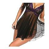 WemaSoo6 Vestitino Sexy Donna, Completini Sexy Hot per Sesso Babydoll Donna Sexy Pigiama a Rete, Pizzo a Fascia Sexy(Viola) (Size : S)