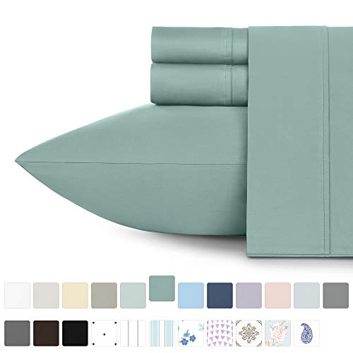 Premium 400-Thread-Count 100% Cotton Sheets - 3-Piece Green Sage Twin XL Sheet Set Long-Staple Combed Cotton Bed Sheets Breathable Cotton Sateen Weave Sheets Set Fits Mattress 15'' Deep Pocket
