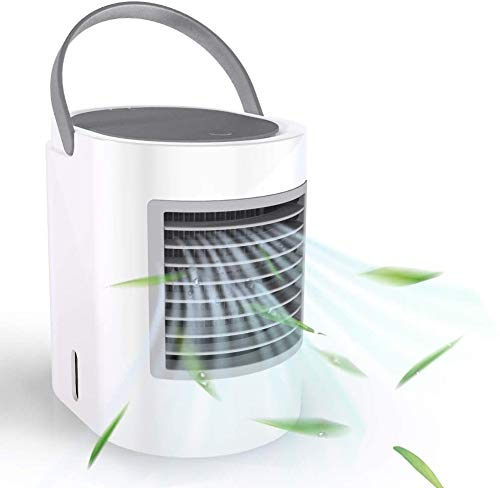 ShookOne Portable Air Conditioner Small Personal USB Air Cooler, Humidifier and Purifier Desktop Cooling Fan with Breathing LED Night Light and 3 Speeds for Office Home Travel (Gray)