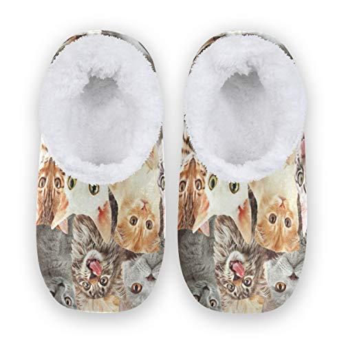 Rxyy - Pantuflas de acuarela con diseño de gato, para mujeres y hombres, unisex, para invierno, cálidas, pantuflas para casa, para el dormitorio, color Multicolor, talla 38/39 EU