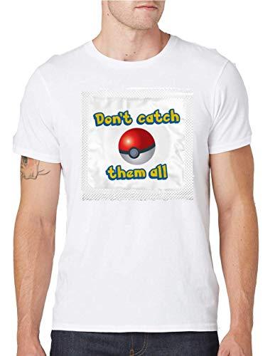 Niet vangen ze alle condoom ronde hals mannen T-Shirt