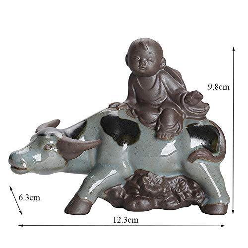 LOSAYM Escultura Figuritas Decorativas Estatuas Té De Arcilla Púrpura, Manada De Mascotas, Niño Montando Una Vaca, Adorno, Pecera, Bonsái, Decoración del Paisaje, Artesanía