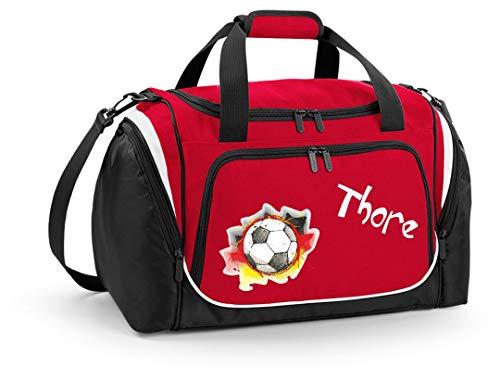 Mein Zwergenland Sporttasche Kinder personalisierbar mit Schuhfach, Kindersporttasche 39L mit Name und Fußball Bedruckt in Rot