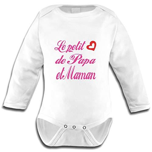 Les lutins de Camille-Body bébé Fille Le Petit Coeur de Papa et Maman (0-3 Mois)
