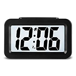 HENSE Creative Smart Nightlight Alarm Clock Bedside Desk Table Electronic Clock Battery Operated Mute Luminous Alarm Clock with Adjustable Light for Kids Students HA35 (Black)