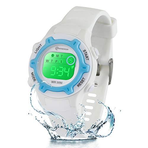 Reloj digital para niños y niñas, 7 colores LED intermitentes para niños, resistente al agua, deportivo, al aire libre, multifuncional, con cronómetro, alarma para edades de 4 a 12 años