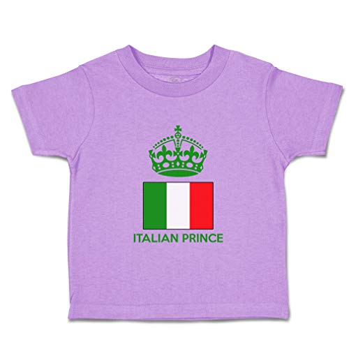 Custom Baby & Toddler T-Shirt Italian Prince Crown Cotton Boy & Girl Clothes Funny Graphic Tee Lavender Design Only 4T